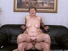 Damn, this old fatso is surely disgusting. She's too fat and too old and too horny. Bitchie nympho with droopy big boobs desires to get her mature pussy fucked and starts riding a dick like a mad one.