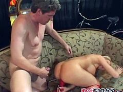 Stunning Brook Haven blows a dick and toys her pussy at the same time. After that she stuffs her pussy with red dildo and gets ass fucked at once.