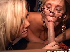 A couple of dirty fucking sluts suck on hard cock and get it shoved balls deep into their wet fucking cunts, check it out right here!