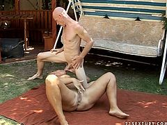 Busty whorish blond and old bitch gets her mature cunt fucked on the lawn