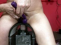 Spoiled short haried ugly and old brunette goes nuts for sure. Her horny skinny and pale husband wanna finger her wet mature pussy, but spoiled nympho desires to ride a dildo and her big droopy ass moves up and down fast.