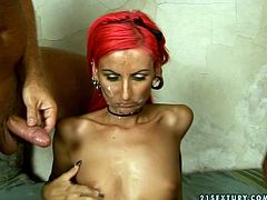 Tall and skinny redhead gets her pussy tickled and licked by bald headed men