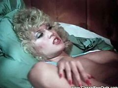 Enjoy this hot vintage vid straight from the eighties. See a provocative blonde sucking and riding her man's cock into a superb orgasm.