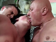 Filthy whore with gaping ass hole is fucking hard in dirty MMF 3some action. She is banged bad in her butt while sucking another hard dick deepthroat. Outrageous porn video presented by 21 Sextury.