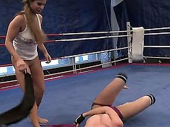 Now you are able to check up the lesbian wrestling scene with Angel Long and Chaty Heaven. Girls stay in their tiny sportswear before starting to have so nice catfight.