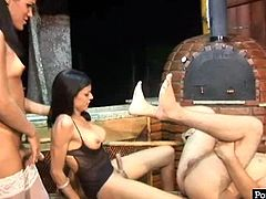 Sex greedy young teen makes out with two salty Latin shemales in seductive lingerie and stockings. One of them pokes him hard in anal hole while he gives a head to another shemale in steamy threesome sex video by Pornstar.