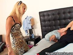 Monique Alexander enters Alex's bedroom while he was sleeping. When he woke up he didn't lose a second but began seducing his sister's best friend. She fall for his charm so she revealed his hard flesh out of his pants to give hot blowjob.