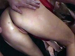 Tasty looking blond hottie Alicia Rhodes gets double fucked in MMF