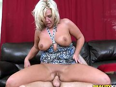 Lustful cougar shows her big tits and lifts her dress up. Then she gives skillful blowjob to the guy and gets fucked rough as she likes. After that she takes a shower.