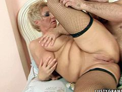 Vast blond mature in black fishnet stockings welcomes a hard drill of her delicious pink pussy from behind in sideways position before she lies on her back with legs wide open to get her pussy eaten.