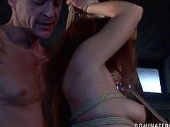 When his girlfriend misbehaves he binds her in ropes and gives her every kind of kinky torture. He spanks her ass with a leather paddle until her ass turns red.