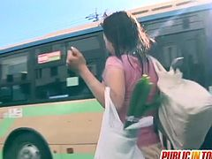 Check a naughty Japanese brunette getting her hairy clam banged deep and hard in the bus in this hot public hardcore vid.