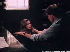 Enjoy this naughty vintage hardcore video where a naughty blonde secretary blows John Holme's long dong. Then it's time for her clam to be banged before he creams her tummy.