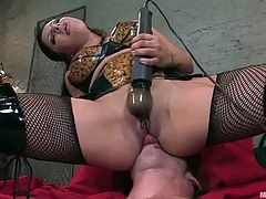 This tied up fella will get his butthole penetrated deep by Sativa Rose's long strapon dildo after she had played with his cock in this femdom vid.