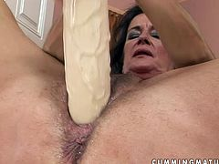 Kinky black haired tanned housewife goes solo at first. She polishes her mature pussy with a huge dildo and then gets it fisted by slim booty fresh lesbian. Check them out in 21 Sextury dyke sex clip to jizz at once.