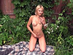 Slim blonde is eager to play naughty during her kinky outdoor solo show