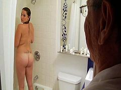 Horny old man knows how to make a bath time a fun time for young slut. He gets down on her knees and starts sucking her wet snatch passionately and then she returns the favor with a blowjob.