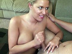 Juicy busty blonde Riley Evans gives her head and gets cum on her chin
