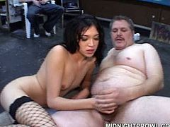 Charming young brunette serves one old fat dude in the shop. She looks sexy in fishnet stockings and while giving him blowjob. Watch shameless brunette who is ready to suck out all your juice in public.
