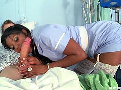 Horny ebony nurse likes teasing her patients and have sex with them at night