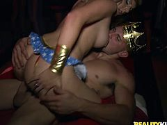 A dirty fucking slut sucks on a hard dick and then gets it shoved balls deep into her fucking pussy in this crazy orgy. Check it out!