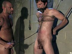 The guy with the goatee is going to be blindfolded and tied in this BDSM video where he gets ass fucked, cock and butt spanked and face sit by another gay guy.