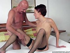 Skinny slut in sexy black stockings takes her lover's dick for a long ride. After a while she gets her pussy fingered and drilled in missionary position.