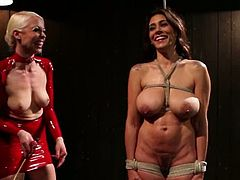 Big breasted Andy San Dimas gets tied up and whipped by hot Lorelei Lee. Later on the brunette gets fucked with a strap-on from behind.