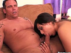 Sweet brunette giving a head, jumping on rough rod and gets her face covered with jizz! She enjoys every inch of his big stiff meat!
