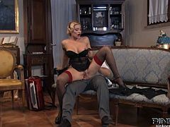 See the alluring blonde belle Vittoria Risi riding her man's dong with her tight clam while flaunting her big round tits. She loves wearing nylons during a fuck like this!