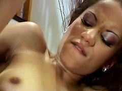 Maya Mason gets sweaty from passionate porn session. She is fucking intensively exposing her lust and thirst. Enjoy watching sizzling brunette girl sucking cock and getting fucked hard from behind.