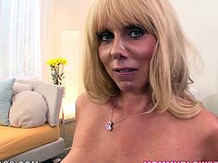 Blonde mature stimulates this cock like never before with her staggering POV oral skills