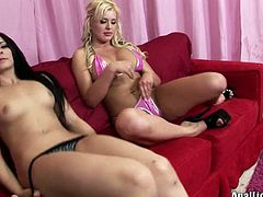 Dirty-minded gals get rid of bras and panties to open wet pussies. Horny blondie with flossy ass bends over the couch and kinky brunette stretches her pussy lips right away.