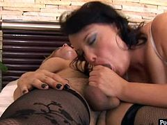 Curvy brunette MILF in seductive black lingerie inclines to stiff cock of rapacious blond shemale giving her a blowjob before she stands in doggy pose to get pounded from behind.