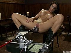 This amazing and super kinky babe Chanel Preston gets on the fucking machine to feel something great and wild. Oh, what a gorgeous siren Chanel is!