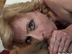 Check out this horny blonde mature having some fun with her