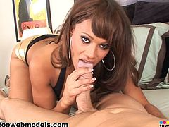 Naughty latina in deepthroat action