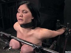 Slutty bosomy brunette Claire Dames is getting punished in a basement. The guy ties the hottie up and nearly destroys her big boobs.