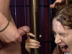 This insatiable harlot likes to have a wild sex in front of other people. Horny stud pounds her wet twat doggy style making her groan like a dirty whore. Then she lets him pee in her slutty mouth.