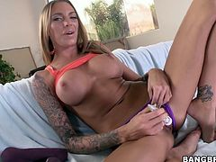 See the hot and gorgeous tattooed babe Juelz Ventura getting her amazing ass fucked with toy and her pussy banged with cock.