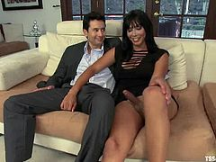 Lewd blonde Cherry Torn is having fun with hot shemale Mia Isabella. The ladyboy fucks the bitch and then seduces some guy and drills his ass deep and hard.