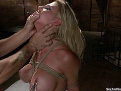 Sex and submission with a smoking hot blond babe Charisma Cappelli and a cruel asshole Mr. Pete. He gives her pain and orgasm with his dick!