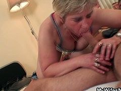 Check a provocative blonde granny sucking her son-in-law's cock before he gets in the mood for banging her experienced cunt into the best orgasm she has had in years.