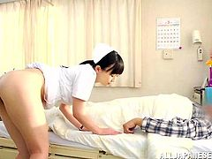 She's a beautiful Asian nurse that's always ready to make her patients happy. This cutie decides to give the guy her special treatment and in the same time she receives something that she enjoys a lot. Watch her taking off those panties to get ass fingered while lustfully sucking cock like a whore.