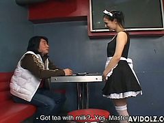 Obedient as ever, Maria Ozawa puts on a sexy maid's uniform and services her man inside a bathroom cubicle. She fills her mouth with his cock and works her way from tip to hilt.
