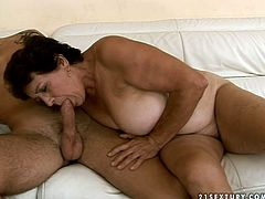 Dude, are you a true fan of horny old sluts? Then this 21 Sextury xxx clip is surely for you. Spoiled short haired brunette with droopy pale big tits begs a strong stud to fuck her old cunt from behind right on the couch.