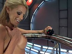 Horny blonde babe fondles her wet pussy and then gets her toyed deep by the fucking machine in close-up scenes.