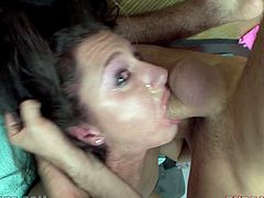 Lina Cole fingers her coochie before getting brutally face-fucked