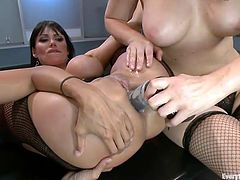 Dana is a whore that likes it in the ass and her best girlfriends are more than happy to help her reach satisfaction. They've inserted a metal speculum in her tight anus and gaped it hard. Seeing the inside of her ass one of them couldn't help herself not to give Dana a rimjob and then the real fun started.