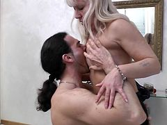 Pamela likes her men young strong and preferable dark haired. This one matches her needs so she goes wild with him. He undresses her, licks those small saggy tits and then feds the whore with his big hard cock. Pamela crushes on his dong and and craves for every drop of jizz the guy has in his balls